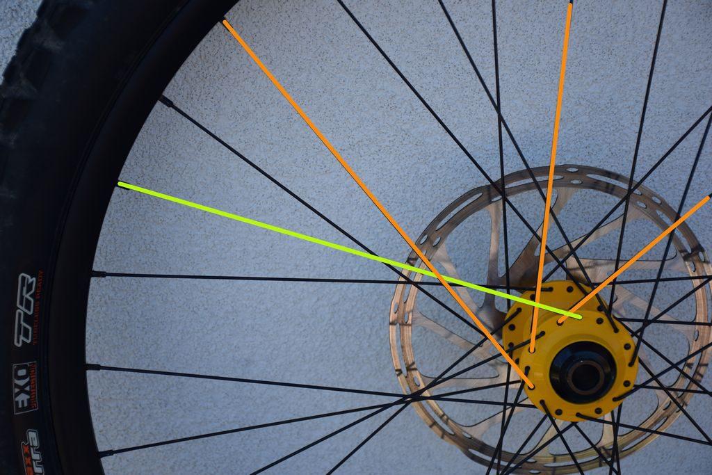 esempio di raggiatura di terza dei raggi delle ruote delle mountain bike